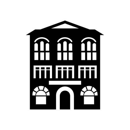 arched: Building with arched windows icon in simple style on a white background