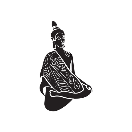 buddism: Buddha statue icon in simple style on a white background Illustration