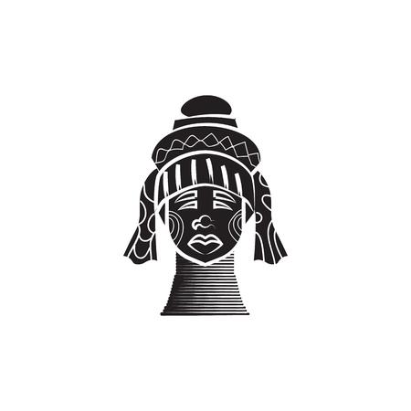 白地にシンプルなスタイルに伝統的な真鍮コイル アイコンがカレン長い首の女性