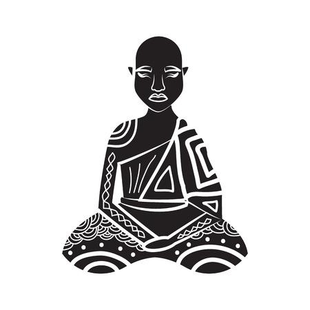 thai monk: Thai monk icon in simple style on a white background
