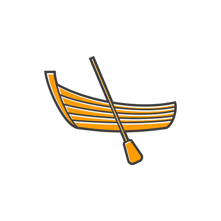 A boat with a paddle icon in flat style on a white background Иллюстрация
