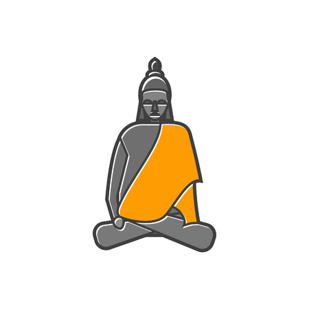 Buddha statue icon in flat style on a white background Illustration