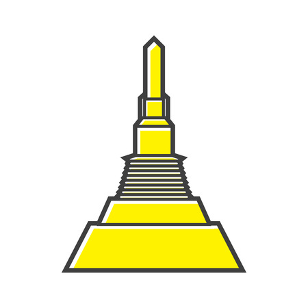 stupa: Golden Mount,Thailand icon in flat style on a white background
