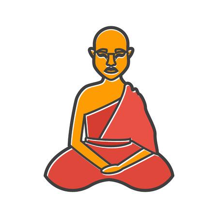 buddhist monk: Buddhist monk icon in flat style on a white background