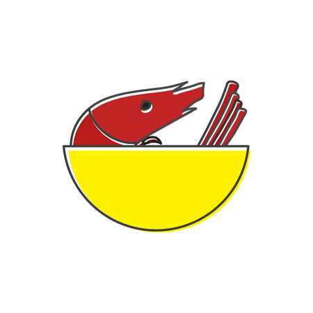 Shrimp in yellow bowl icon in flat style on a white background