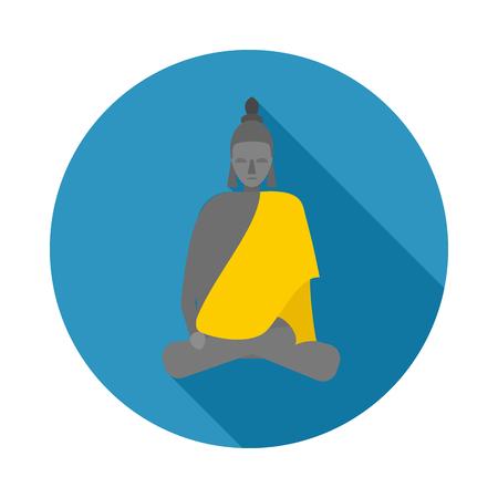 buddism: Buddha statue icon in flat style on a white background Illustration