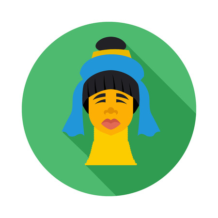 long neck: Karen long neck woman with traditional brass coils icon in flat style on a white background