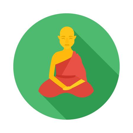 buddhist monk: Sitting buddhist monk icon in flat style on a white background Illustration