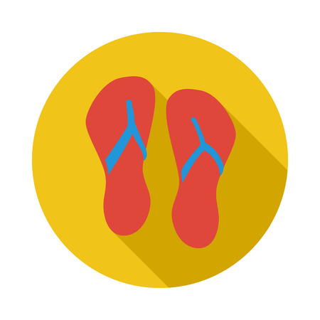 Beach red flip flops icon in flat style on a white background Illustration
