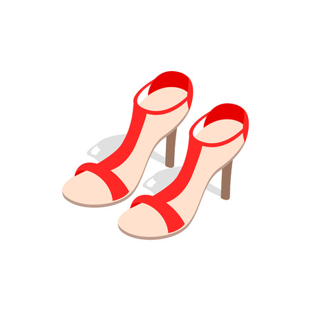 ankle strap: Pair of high heel red female shoes icon in isometric 3d style on a white background