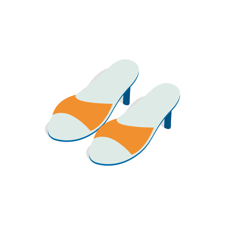 Yellow ladys high heel shoes icon in isometric 3d style on a white background