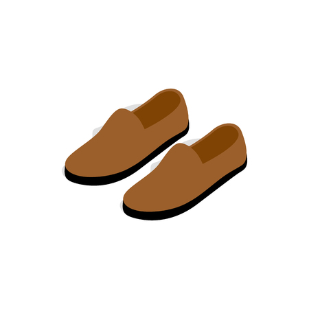 Brown leather shoe icon in isometric 3d style on a white background Illustration