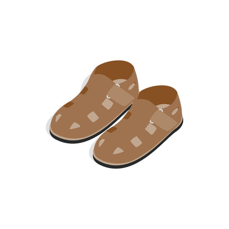 Mens sandals icon in isometric 3d style on a white background