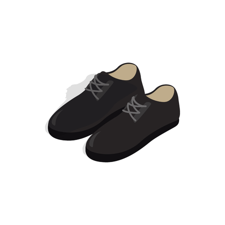 Black male shoes with laces icon in isometric 3d style on a white background Illustration