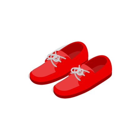 red shoes: Pair of red shoes icon in isometric 3d style on a white background Illustration