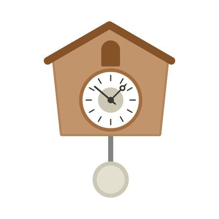 reloj cucu: Vintage icono de madera reloj de cuco en el estilo plano sobre un fondo blanco Vectores