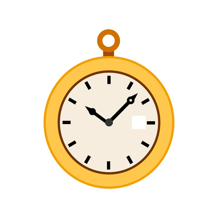 Pocket watch icon in flat style on a white background Ilustração