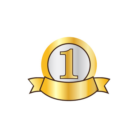 First place golden label icon in flat style on a white background