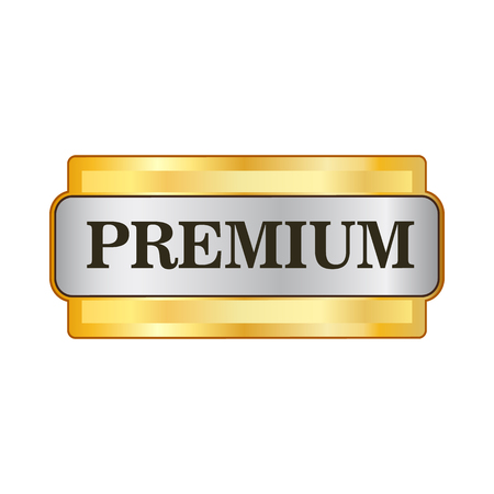 Premium golden label icon in flat style on a white background