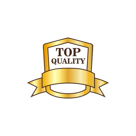 warranty: Top quality golden shield icon in flat style on a white background