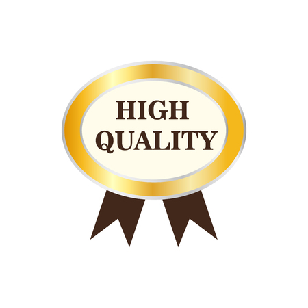 High quality golden label icon in flat style on a white background