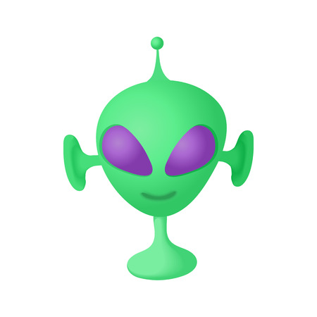 Alien icon in cartoon style on a white background