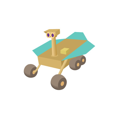 Mars exploration rover icon in cartoon style on a white background