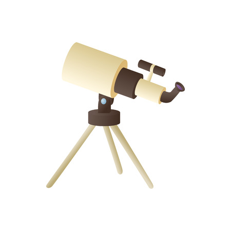 Telescope icon in cartoon style on a white background Illustration