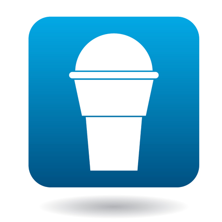 Cup of ice-cream icon in simple style isolated on white background