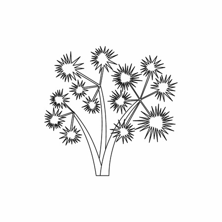 spiky: Three spiky palm trees icon in outline style isolated on white background. Flora symbol