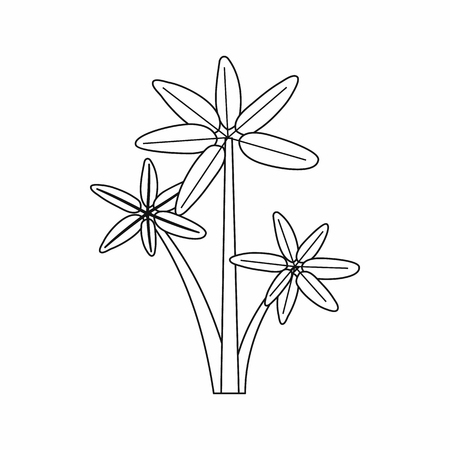 subtropical plants: Palm tree icon in outline style isolated on white background. Flora symbol Illustration