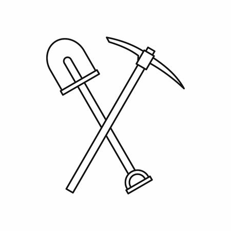 pickaxe: Shovel and pickaxe icon in outline style isolated on white background. Repair symbol Illustration