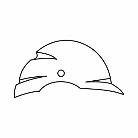 head protection: Construction helmet icon in outline style isolated on white background. Head protection symbol