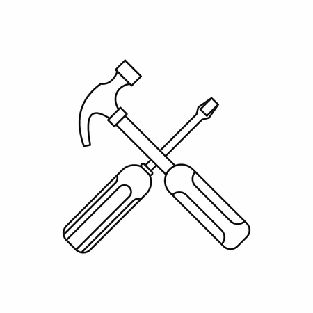 Hammer and screwdriver icon in outline style isolated on white background. Repair symbol