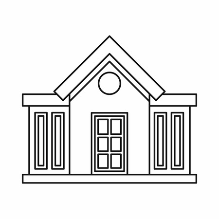 mansion: Mansion icon in outline style isolated on white background. Construction symbol