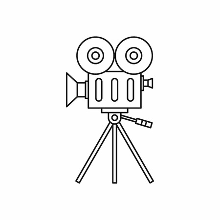 video shooting: Camcorder icon in outline style isolated on white background. Shooting video symbol Illustration