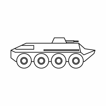 armored: Armored personnel carrier icon in outline style isolated on white background. Machinery symbol