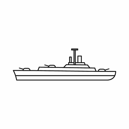 battleship: Warship icon in outline style isolated on white background. Military symbol