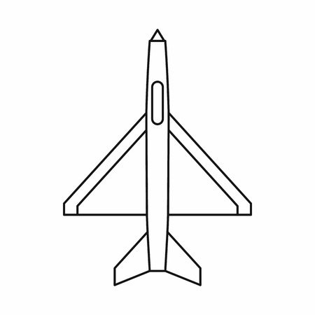 military aircraft: Military aircraft icon in outline style isolated on white background. Plane symbol