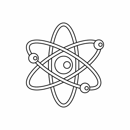 atomic symbol: Atomic molecule icon in outline style isolated on white background. Science symbol Illustration