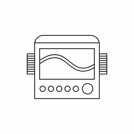 scientific research: Chemical equipment icon in outline style isolated on white background. Scientific research symbol Illustration