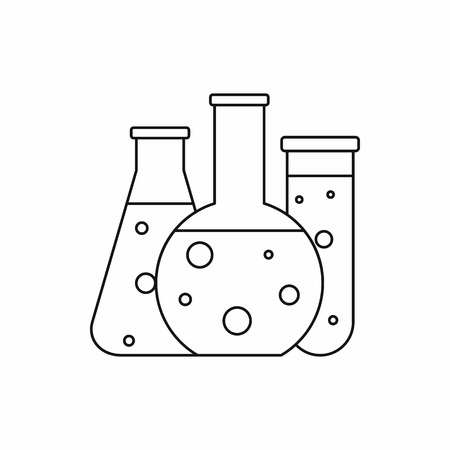 scientific research: Laboratory flasks icon in outline style isolated on white background. Scientific research symbol