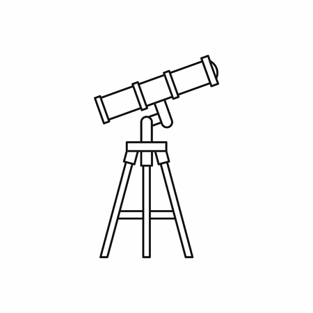 observation: Telescope icon in outline style isolated on white background. Observation symbol
