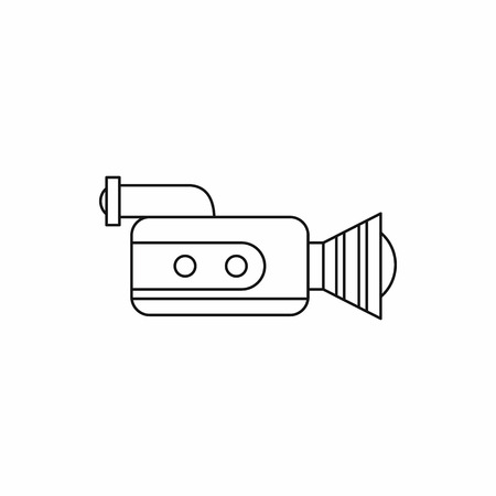 video shooting: Retro camera icon in outline style isolated on white background. Shooting video symbol Illustration