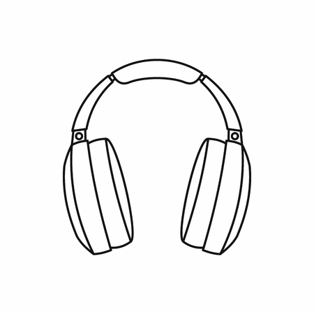 portable radio: Headphones icon in outline style isolated on white background. Music symbol