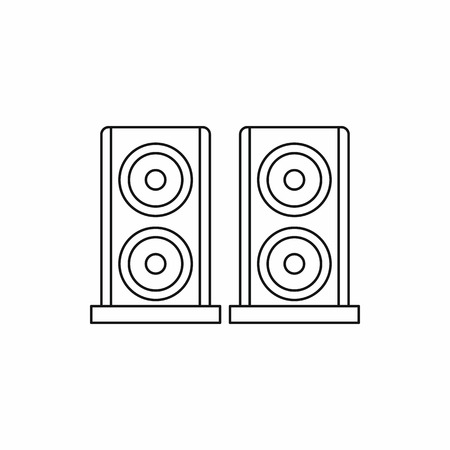 loud   speakers: Music speakers icon in outline style isolated on white background. Song symbol
