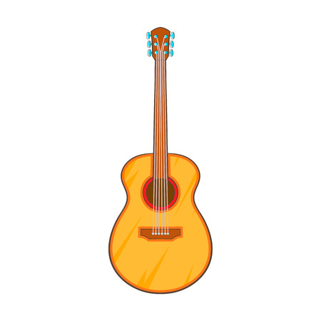 musical instrument symbol: Guitar icon in cartoon style isolated on white background. Musical instrument symbol