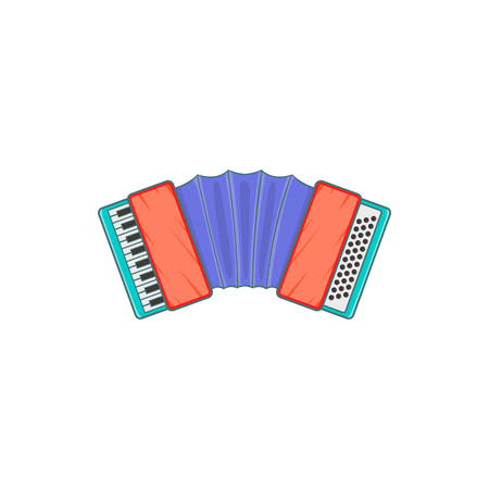 concertina: Accordion icon in cartoon style isolated on white background. Musical instrument symbol