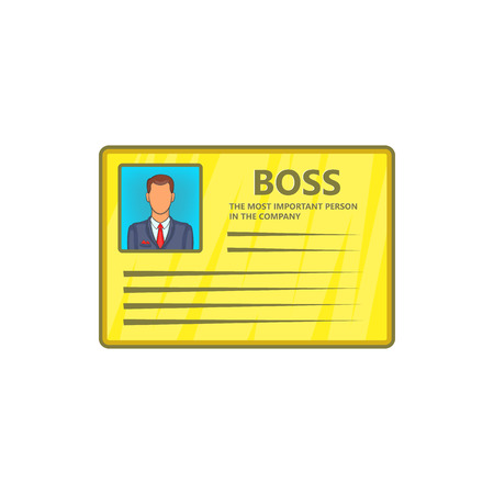 contact details: Card of boss icon in cartoon style isolated on white background. Contact details symbol
