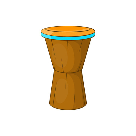 jazz drums: African drum icon in cartoon style isolated on white background. Musical instrument symbol